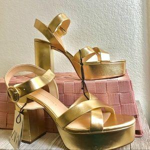 Zara Metallic Platform Block Heels